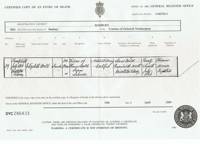 Death Certificate of Eizabeth Mold (nee Webb)
